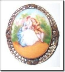 Porcelain Pin Czechoslovakian Hand-Painted