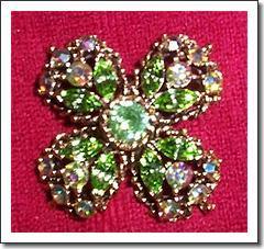 Weiss Green Rhinestone Four-Leaf Clover Brooch