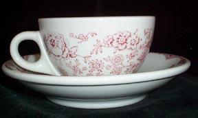 Sterling China Red Transfer Restaurant Cup and Saucer