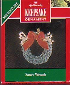 Hallmark Christmas  Miniature Ornament - Fancy Wreath 1991