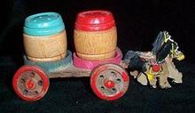 Salt and Pepper Shakers Wooden Horse and Wagon