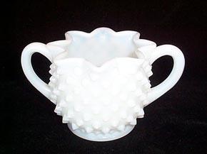 Fenton Milk Glass Hobnail Creamer and Sugar
