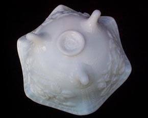Open Rose Imperial Milk Glass Footed Bowl Open Rose
