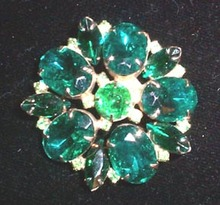 Green Rhinestone Brooch