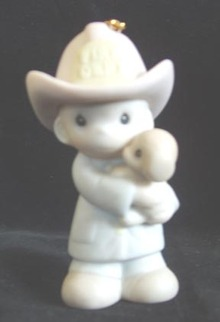 Precious Moments Fireman Ornament Love Rescued Me
