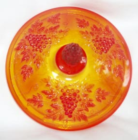 Amberina Pedestal Candy Dish with Lid