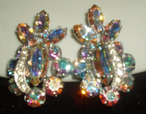 Weiss Aurora Borealis Clip Earrings