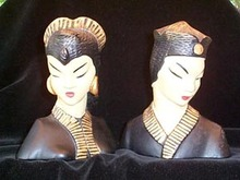 Bookends Oriental Man and Woman Busts