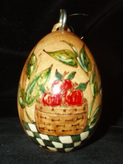Handpainted Wooden Egg Christmas Ornaments