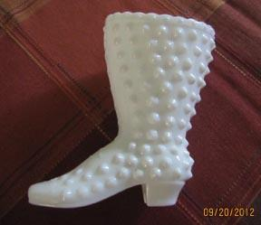 Milk Glass Fenton Hobnail Boot