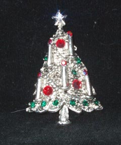 Weiss Silvertone and Rhinestone Candle Christmas Tree Pin