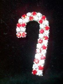 Rhinestone Candy Cane Pin