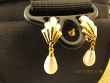 Goldtone Faux Pearl Teardrop Earrings by Napier