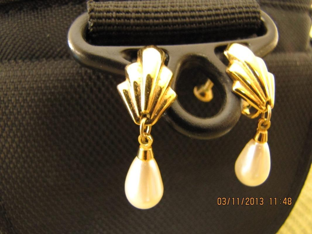 Goldtone Faux Pearl Teardrop Earrings by Napier