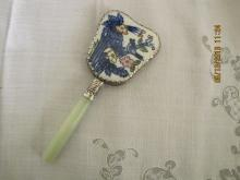 Handpainted Porcelain Hand Mirror with Jadeite Handle
