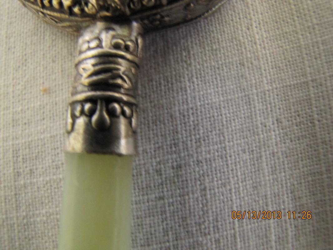 Handpainted Porcelain Hand Mirror with Jadeite Handle