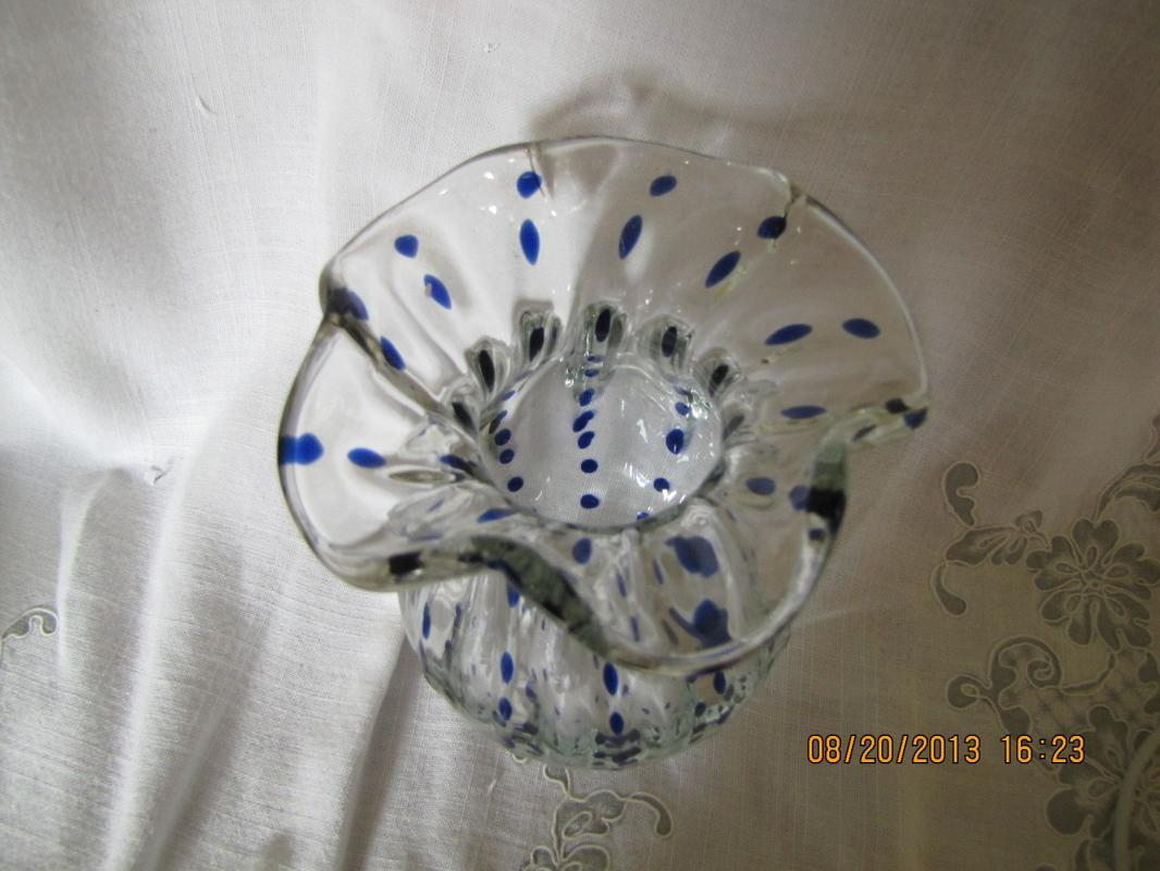 Clear Glass Vase with Blue Drops