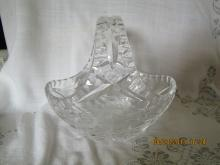 Cut Glass Basket with Flowers Design