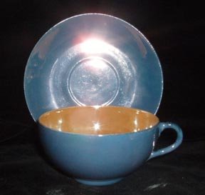 Lustreware Cup and Saucer Blue