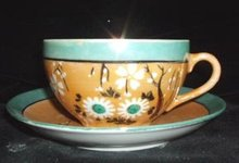 Japanese Takito, Luster Glaze Handpainted Cup and Saucer