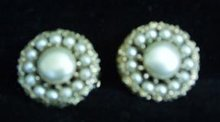 Earrings Kramer Clip-on Pearl and Goldtone