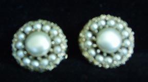 Earrings Kramer Clip-on Pearl and Goldtone
