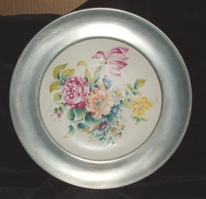 Porcelain Plate Rohrbach in Pewter Frame