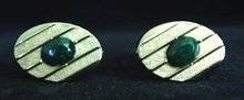 Men's Cufflinks Green Stone