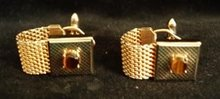 Men's Cufflinks Tiger Eye and Mesh