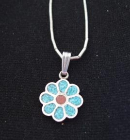 Turquoise and Coral Pendant on Liquid Silver Chain