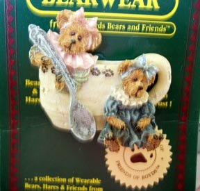 Boyds Bears Bearwear Pin - Prissie and Missie - Fixin' Tea