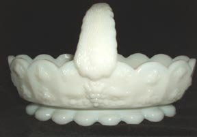 Paneled Grape Basket Westmoreland Milk Glass