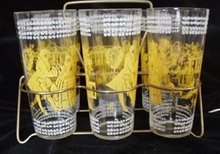 Drinking  Glasses in Carrying Rack
