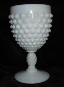 Fenton Water Goblet Milk Glass Hobnail