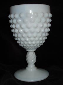 Fenton Water Goblet Milk Glass Hobnail