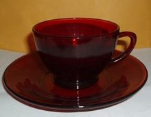 Royal Ruby Glass Cup and Saucer