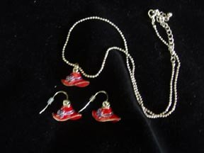 Red Hat Necklace and Earrings