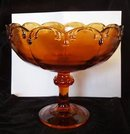 Amber  Teardrop Garland Compote Indiana Glass