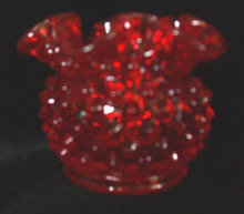 Red Hobnail Bowl Ruffled Fenton