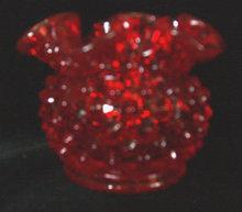 Red Hobnail Bowl Ruffled Fenton