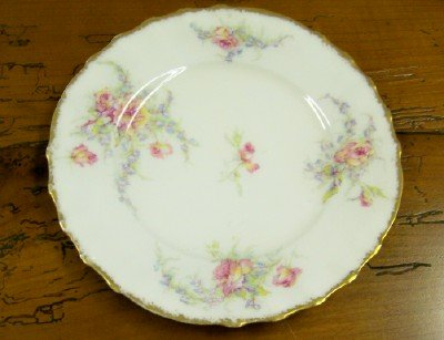 set of 6 T Haviland Limoges flowered Plates