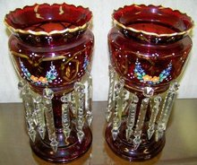 Pair Boheim Glass Lusters - hand painted