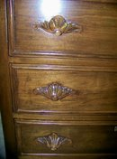 19c  3 Drawer Bureau with Leaf Handles