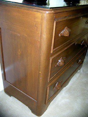 19c  3 Drawer Bureau with Leaf Handles