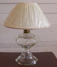 19c Converted Glass Oil Lamp