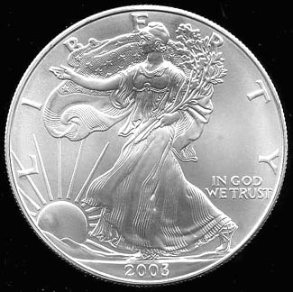 2003  AMERICAN EAGLE  99.9% Silver Bullion 1 oz