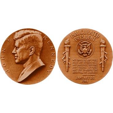 John F. Kennedy  Bronze Medal US MINT  Velvet Case