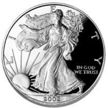 2002 American Silver Eagle 1 oz 99% Silver Bullion
