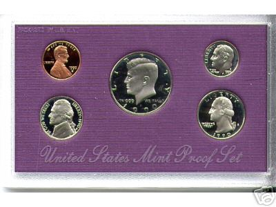 1990 US Mint Proof Set 5 Coins