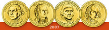 2007 Presidential Dollar Coins  Get all  4 Sets 8 coins Washington Adams Jefferson Madison